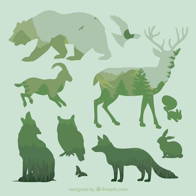 Silhouettes of animals Free Vector