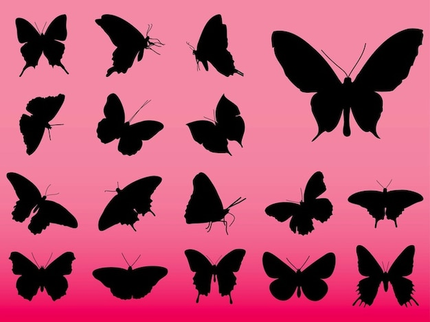 Silhouettes of butterflies Free Vector