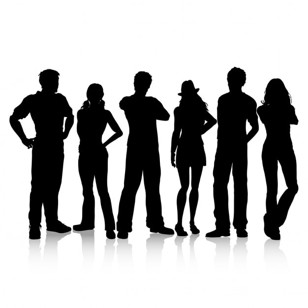 Silhouettes of casual dressed people Free Vector