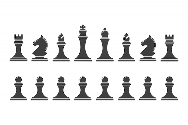 Silhouettes of chess pieces Premium Vector