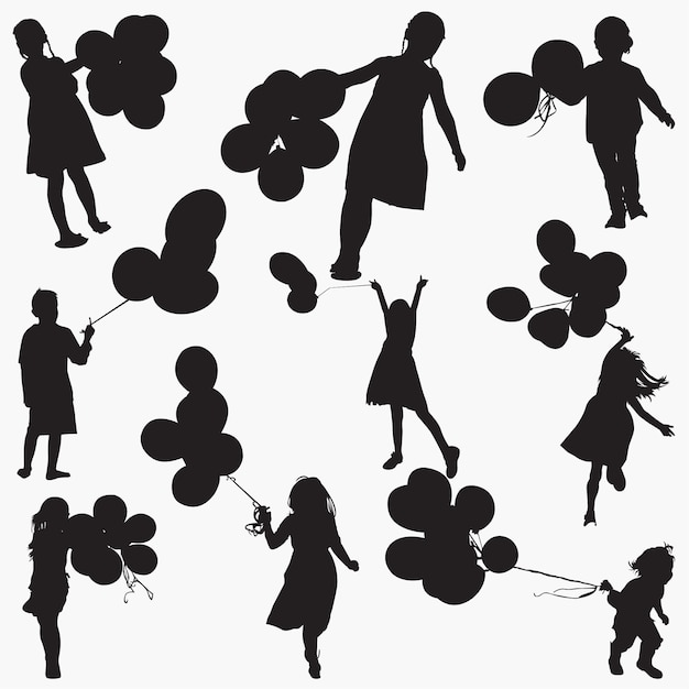 Silhouettes child holdings balloons Premium Vector