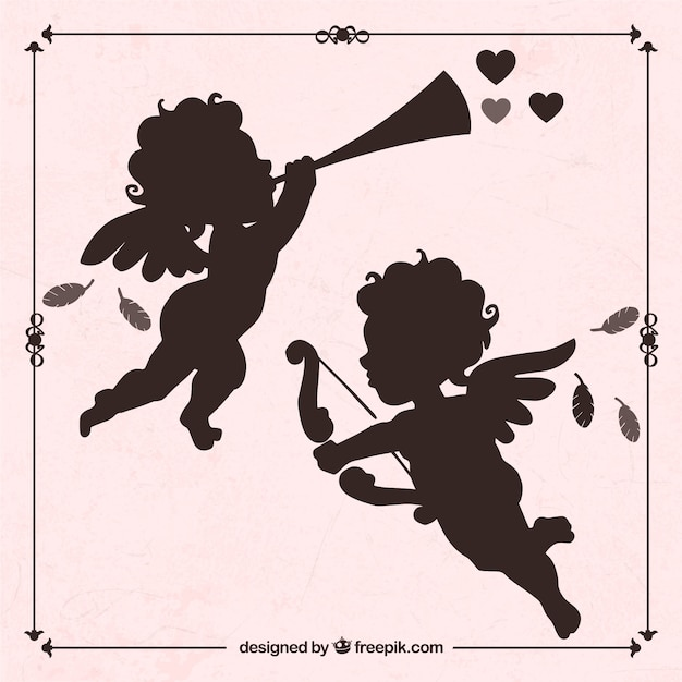 Silhouettes of cupid Free Vector