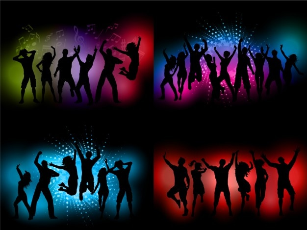 Silhouettes Dancing at Party Backgrounds