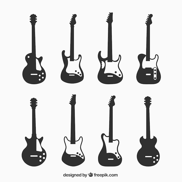 Silhouettes of eight electric guitars Free Vector