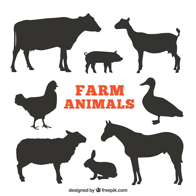 Silhouettes of farm animals Free Vector