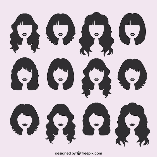 Silhouettes of female haircuts Free Vector