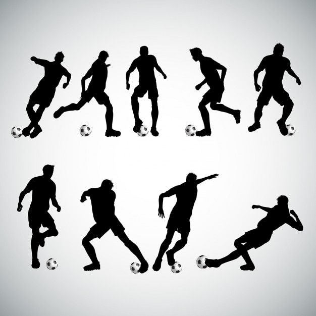 Silhouettes of football players in various poses Free Vector