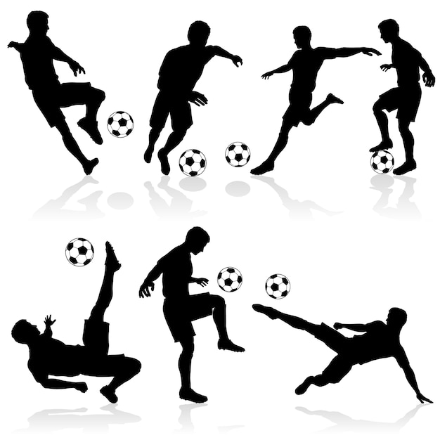 Silhouettes of football players Premium Vector