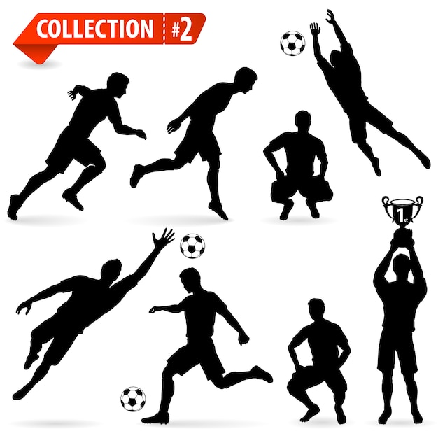 Silhouettes football players Premium Vector
