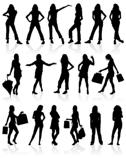 Silhouettes girls set Premium Vector