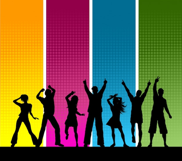 Silhouettes of a group of people dancing Free Vector