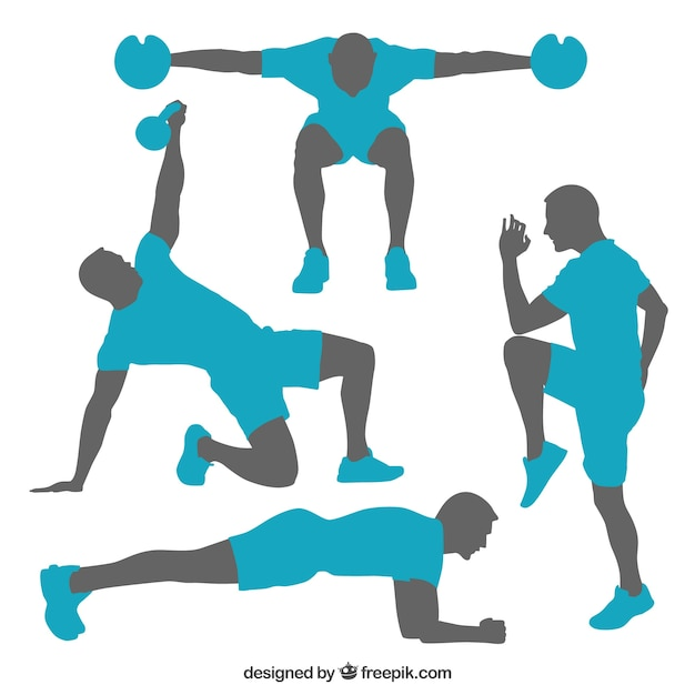 Silhouettes of gym training poses Vector | Free Download