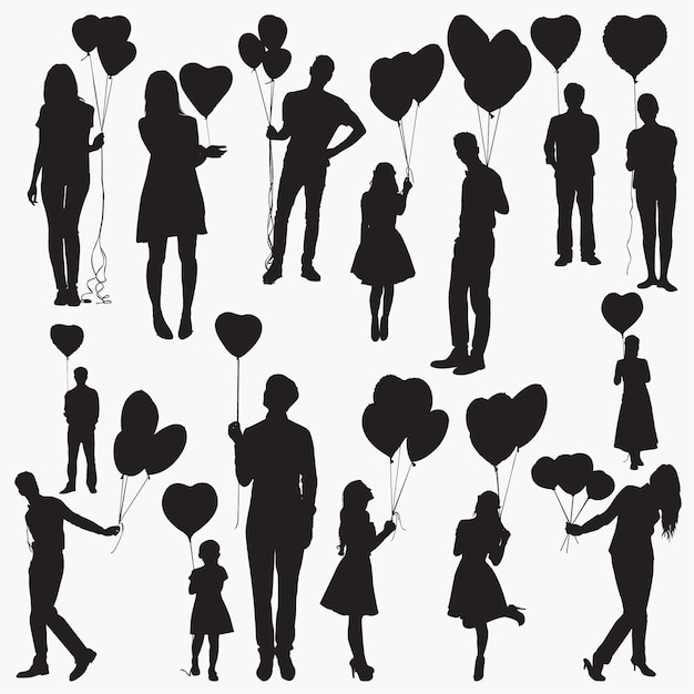 Silhouettes holding heart shaped balloons Premium Vector