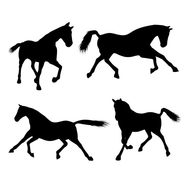 Silhouettes of horses Free Vector