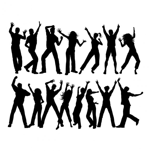 Silhouettes of lots of people dancing Free Vector