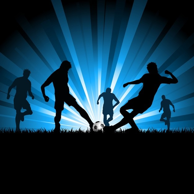 Silhouettes of men playing soccer Free Vector