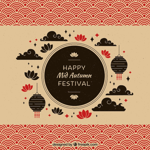 Silhouettes, mid autumn festival Free Vector
