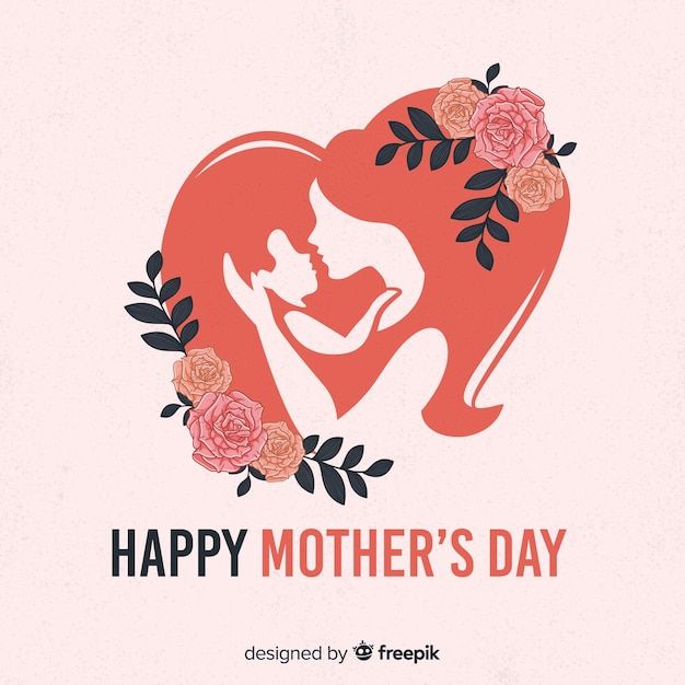 Silhouettes mother's day background Free Vector