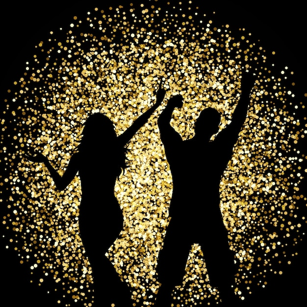 Silhouettes of a couple dancing on a gold\ glitter background