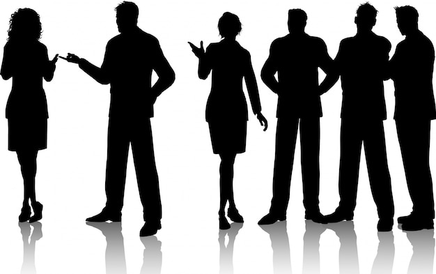Silhouettes of a group of business people having conversations Free Vector
