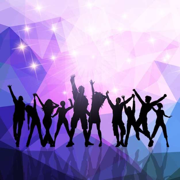 Silhouettes of a party crowd on a low poly\ background