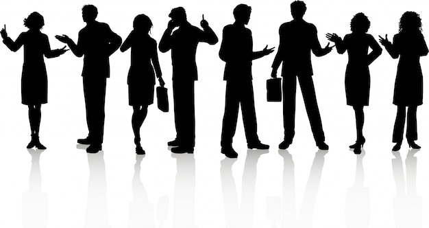 Silhouettes of business people in various\ poses