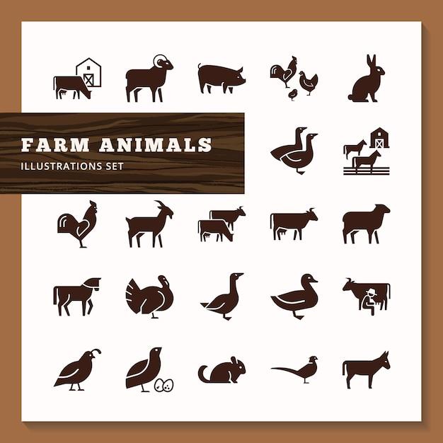 Силуэты сельскохозяйственных животных Premium векторы