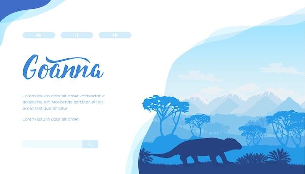 ゴアナ、木、山のシルエット。トカゲ、青い色の植物とオーストラリアの風景。 Premiumベクター