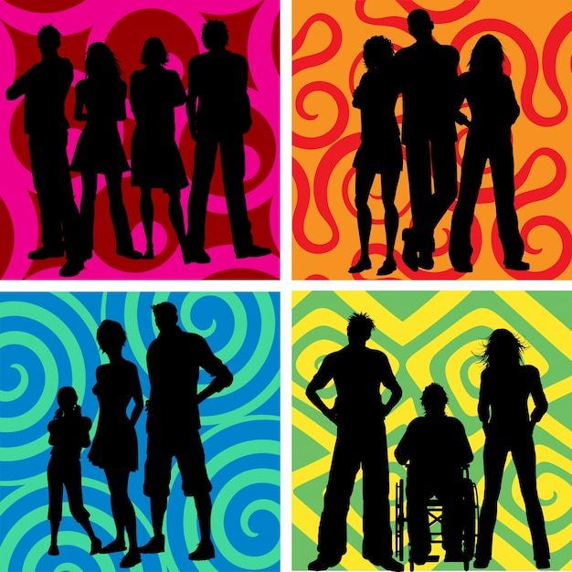 Silhouettes of groups of people on abstract\ backgrounds