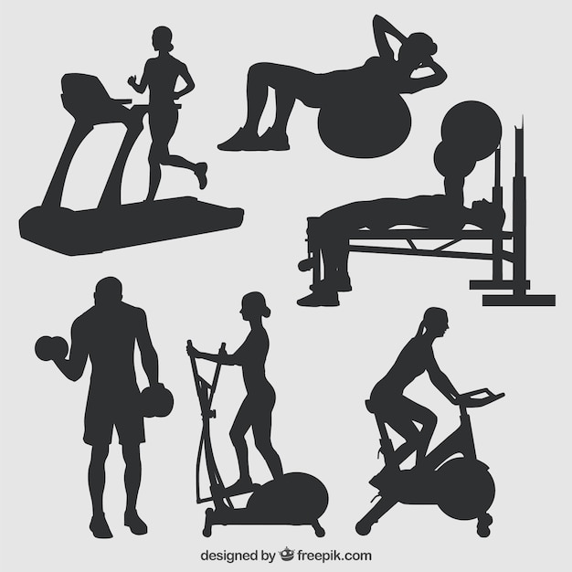 silhouettes of gym vector free download. Black Bedroom Furniture Sets. Home Design Ideas