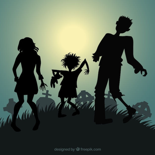 silhouettes of halloween zombies vector free download