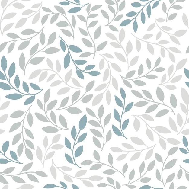 Силуэты идентичных листьев бесшовные модели. рисованной иллюстрации в простом скандинавском стиле каракули мультяшный изолированные серо-голубые ветви на белом фоне Premium векторы