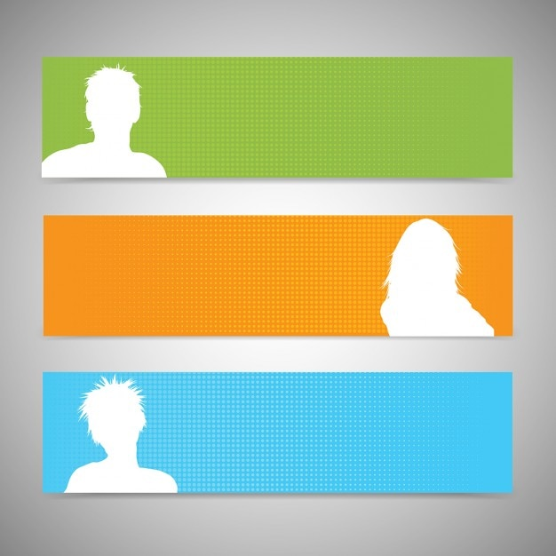 Silhouettes of people banners