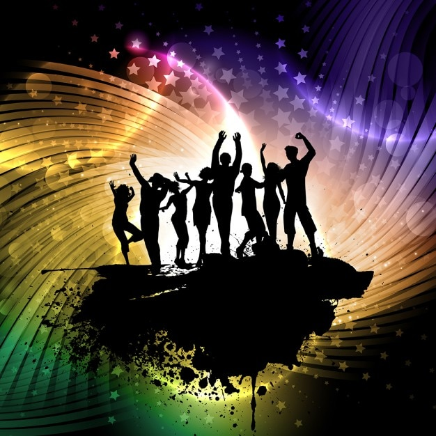 Silhouettes of people dancing background