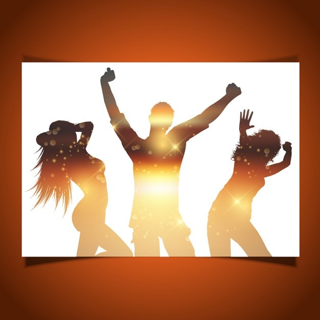 Silhouettes of people dancing card