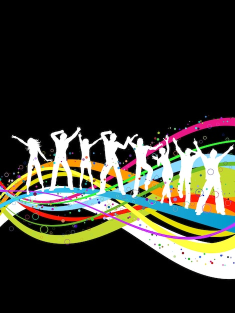 Silhouettes of people dancing on a colorful\ abstract background