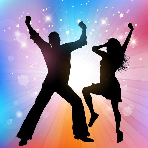 Silhouettes of people dancing on a colorful\ background