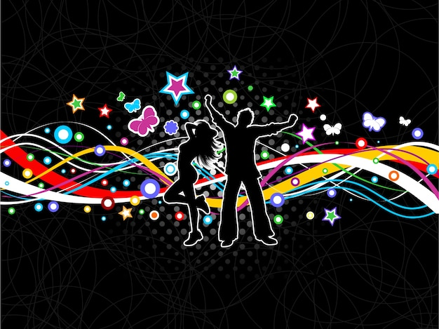 Silhouette Dance Music Abstract Background: Silhouettes Of People Dancing On A Colourful Abstract