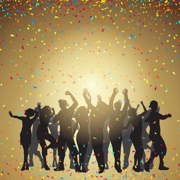 Silhouettes of people dancing on a confetti\ background