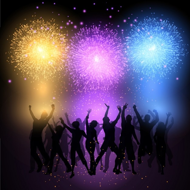 Silhouette of business people men vector free psd vector icons - Silhouettes Of People Dancing On A Fireworks Background