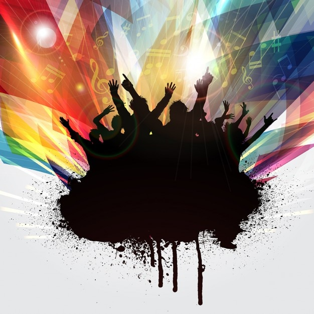 Silhouettes of people dancing on a geometric\ background