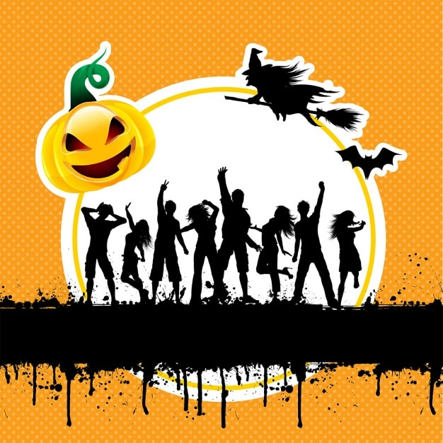 Silhouettes of people dancing on a grunge\ halloween background