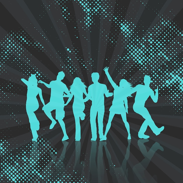 Silhouettes of people dancing on a halftone\ dots background