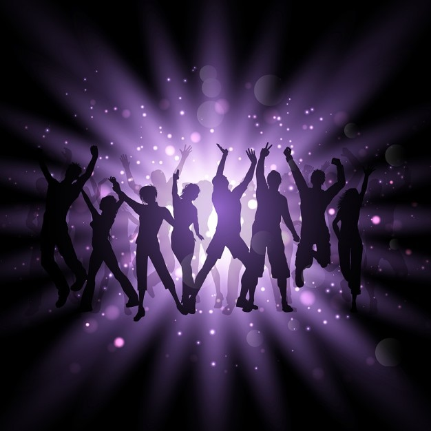 Silhouettes of people dancing on a purple\ background
