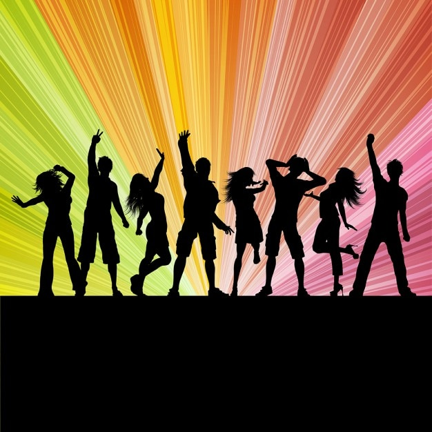 Silhouettes of people dancing on a starburst\ background