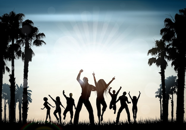 Silhouettes of people dancing on a summer\ background