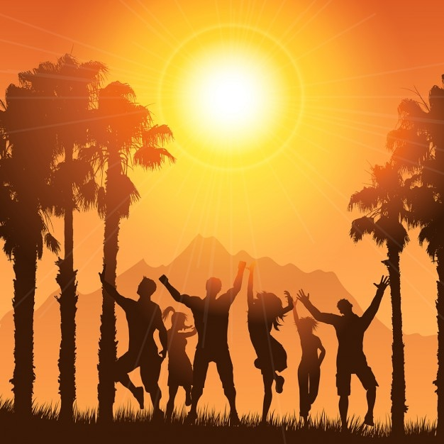 Silhouettes of people dancing on a tropical\ summer background