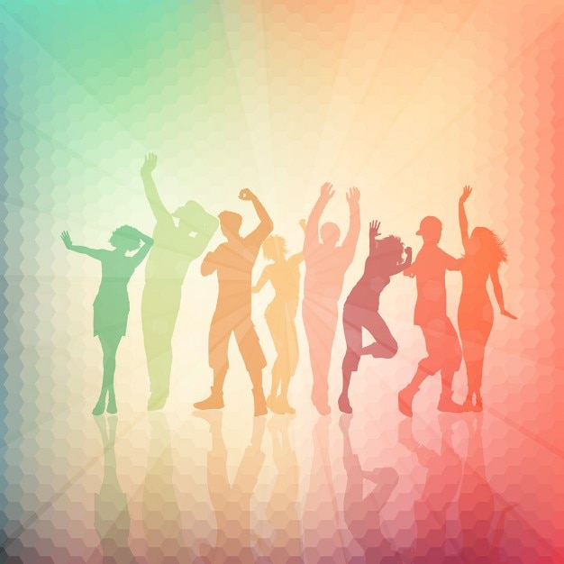 Silhouettes of people dancing on an abstract\ background