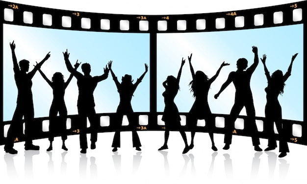 Silhouettes of people dancing on film strip\ background