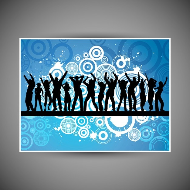 Silhouettes of people dancing on grunge\ background